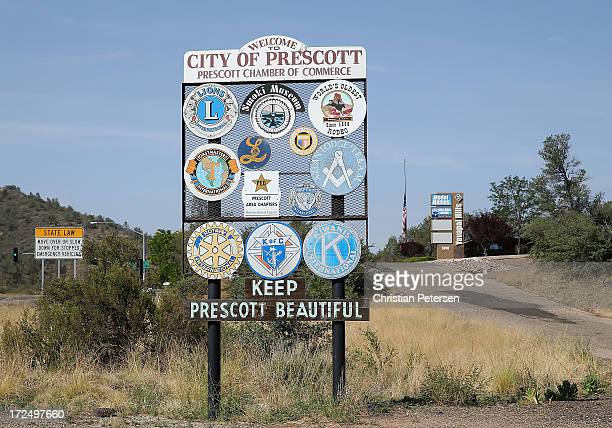 General view of the 'City of Prescott' sign on July 2 2013 in Prescott Arizona Nineteen Granite Mountain Interagency Hotshot Crew firefighters based...