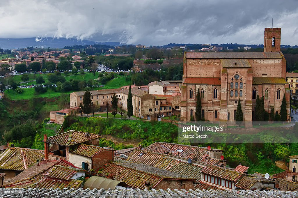 A general view of the city of Siena from the Duomo roof seen during the press preview of 'La Porta del Cielo' on April 5 2013 in Siena Italy The...