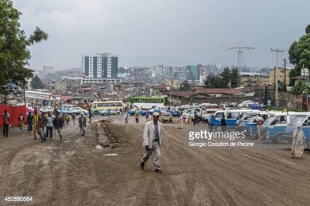 General view of the city on July 01 2014 in Addis Ababa Ethiopia The Ethiopian government has recently launched a new urban plan for the...