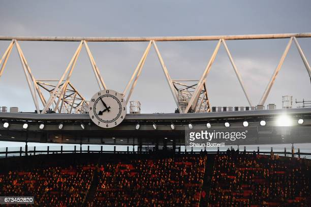 A general view of the clock end as fans watch on during the Premier League match between Middlesbrough and Sunderland at the Riverside Stadium on...