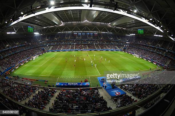 A general view of the closed roof inside the stadium during the UEFA EURO 2016 Group B match between Russia and Slovakia at Stade PierreMauroy on...