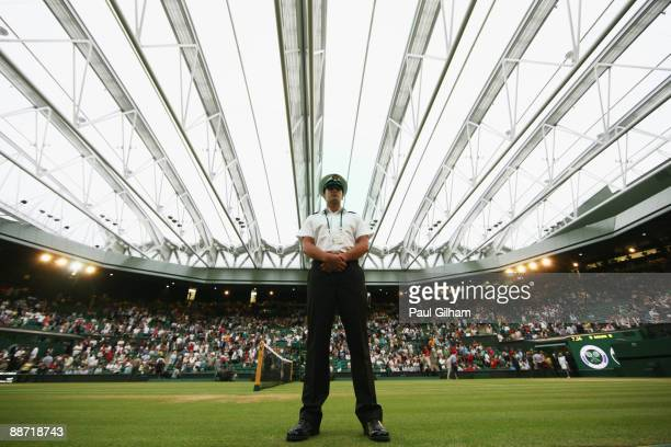 A general view of the closed roof over Centre Court on Day Six of the Wimbledon Lawn Tennis Championships at the All England Lawn Tennis and Croquet...