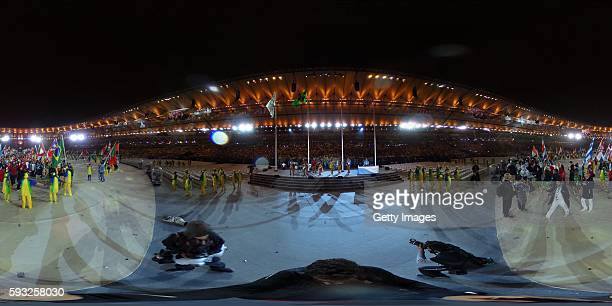 A general view of the Closing Ceremony on Day 16 of the Rio 2016 Olympic Games at Maracana Stadium on August 21 2016 in Rio de Janeiro Brazil