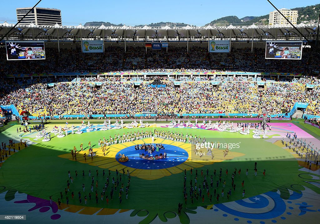 A general view of the closing ceremony prior to the 2014 FIFA World Cup Brazil Final match between Germany and Argentina at Maracana on July 13 2014...