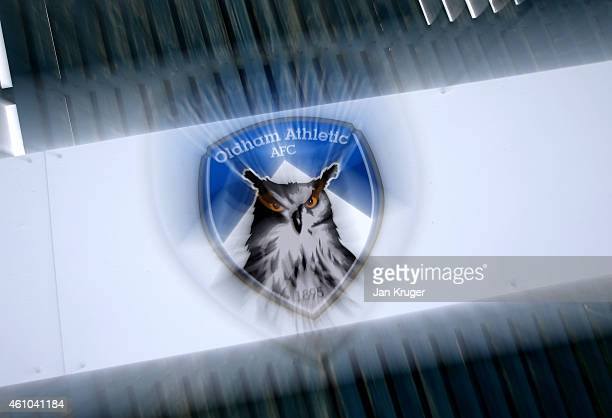 A general view of the Club badge at Oldham Athletic's Boundary Park ground on January 5 2015 in Oldham England