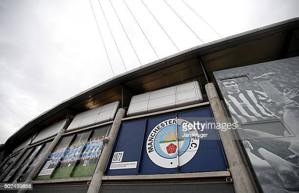 General view of the club badge from 1972 ahead of the Barclays Premier League match between Manchester City and Sunderland at Etihad Stadium on...