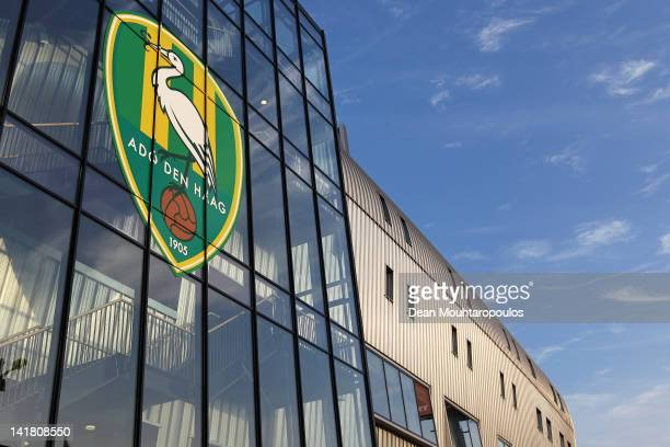 A general view of the club logo on the main entrance of the stadium prior to the Eredivisie match between ADO Den Haag and FC Twente at Kyocera...