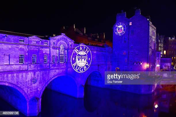 A general view of the club logo projected onto the bridge over the River Avon before the Aviva Premiership match between Bath Rugby and Sale Sharks...