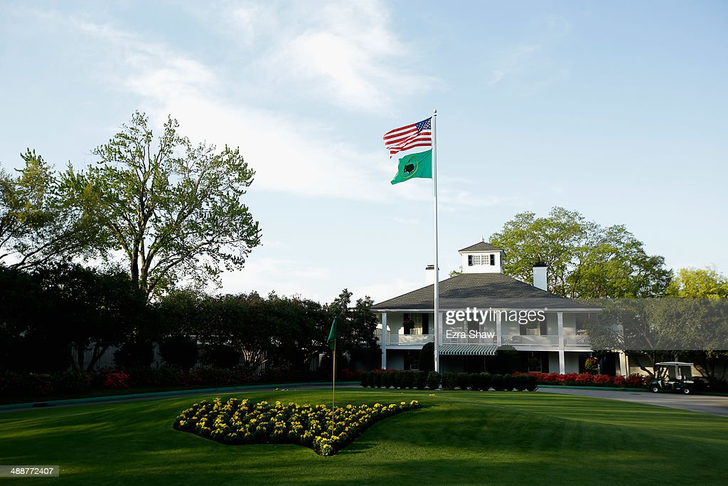 A general view of the clubhouse during a practice round at Augusta National Golf Club on April 9 2014 in Augusta Georgia