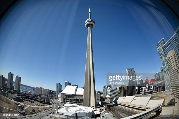 A general view of the CN Tower in downtown Toronto from the UFC hotel during the UFC 189 World Championship Press Tour on March 28 2015 in Toronto...