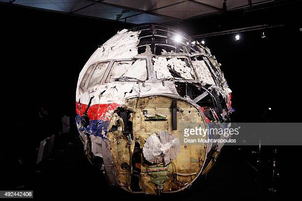 A general view of the cockpit wreckage at the GilzeRijen Military Base on October 13 2015 in GilzeRijen Netherlands The reports focus on four...
