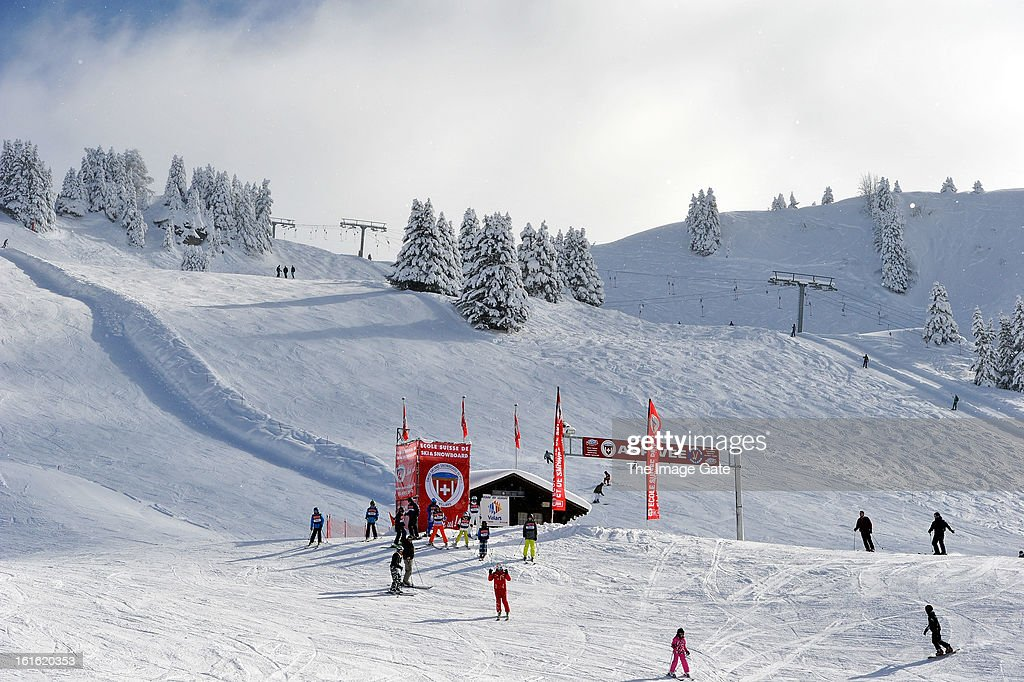 A general view of the Col-de-Bretaye on February 13, 2013 in Villars-sur-Ollon, Switzerland.
