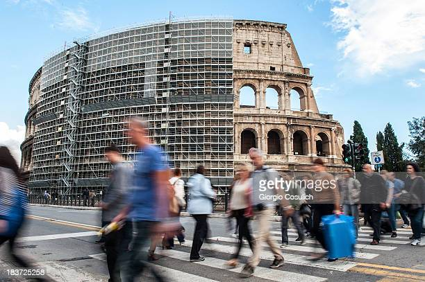 A general view of the Coliseum covered by scaffolding awaiting the start of the restoration work on October 9 2013 in Rome Italy Diego Della Valle...
