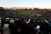 A general view of the College Football Playoff Semifinal between the Oregon Ducks and the Florida State Seminoles at the Rose Bowl Game presented by...
