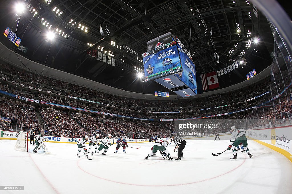 General view of the Colorado Avalanche facing off against the Minnesota Wild in Game Two of the First Round of the 2014 Stanley Cup Playoffs at the Pepsi Center on April 19, 2014 in Denver, Colorado.