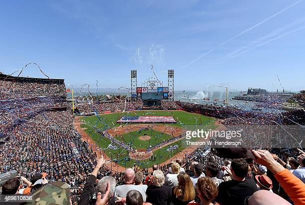 General view of the Colorado Rockies and the San Francisco Giants stand for the National Anthem prior to the start of the game on Opening Day at ATT...