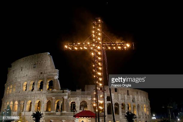 A general view of the Colosseum during the Way of The Cross celebrated by Pope Francis on March 25 2016 in Vatican City Vatican The Way of the Cross...
