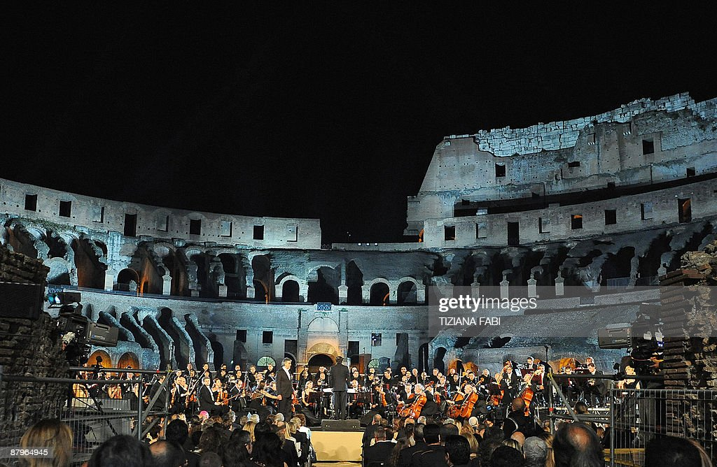 A general view of the Colosseum shows Italian opera star Andrea Bocelli performing on stage with the Abruzzo Symphony Orchestra in Rome on May 25...