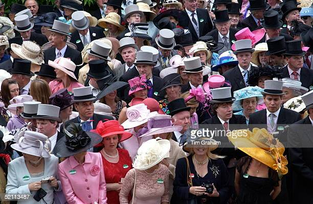 General View Of The Colourful Crowds At Royal Ascot Bright Pink Is A Popular Colour This Season For The Ladies But The Men Are Obliged To Wear...