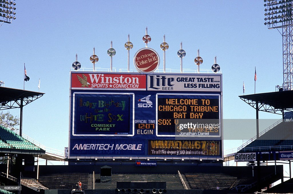 A general view of the Comiskey Park scoreboard circa 1990 in Chicago Illinois