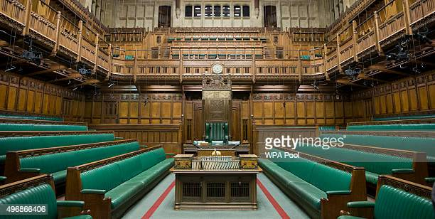 A general view of The Commons Chamber inside the Houses of Parliament on November 12 2015 in London England