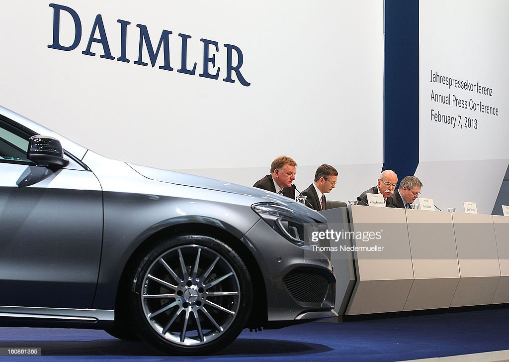 General view of the company's financial performance in 2012 during the Daimler AG, annual press conference on February 7, 2013 in Stuttgart, Germany. Daimler, which manufactures Mercedes-Benz luxury cars, finished in 2012 with its highest business volume of 114.3 Billion Euro since ending its merger with Chrysler in 2007. The group announced a EBIT from ongoing business of 8.6 Billion Euro.