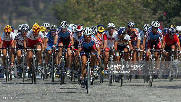 A general view of the competitors in the women's cycling road race on August 15 2004 during the Athens 2004 Summer Olympic Games at the City Centre...