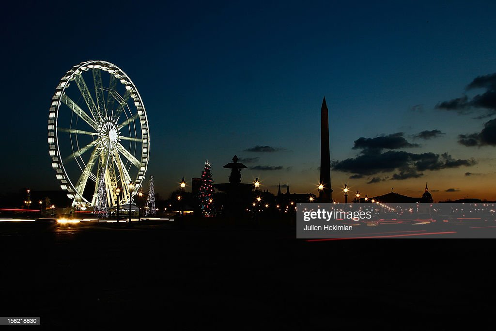 A general view of the Concorde place Christmas illuminations on December 11, 2012 in Paris, France.