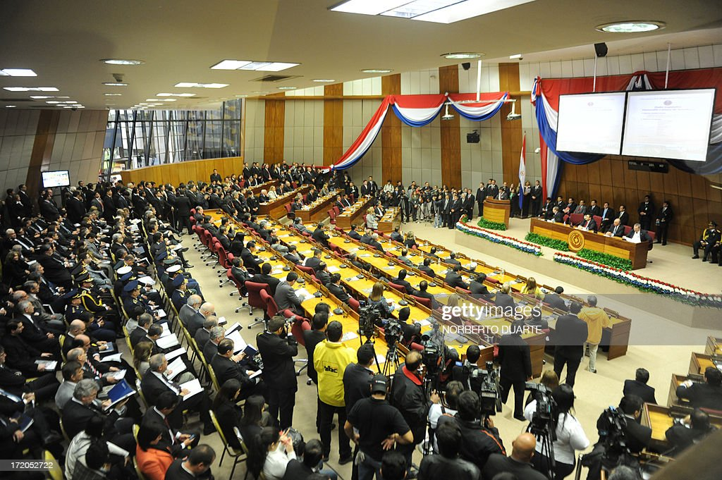 General view of the Congress as Paraguay's President Federico Franco delivers the annual legislative report in Asuncion, on July 1, 2013. AFP PHOTO/Norberto DUARTE