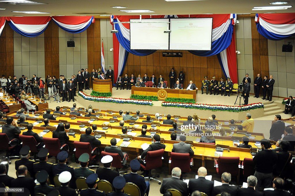 General view of the Congress as Paraguay's President Federico Franco delivers the annual legislative report in Asuncion on July 1 2013 AFP...