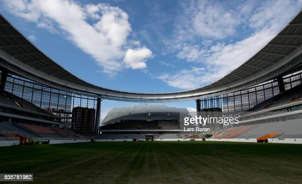 A general view of the constraction site of the Ekaterinburg Arena on August 19 2017 in Ekaterinburg Russia