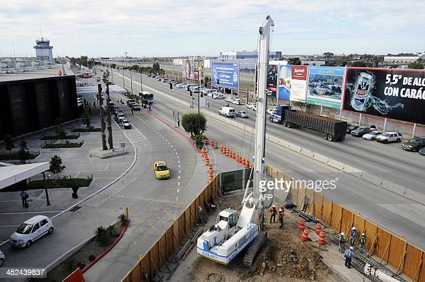 General view of the construction of a new terminal at the Tijuana aiport in Mexico will join the American city of San Diego on November 28 2013 in...