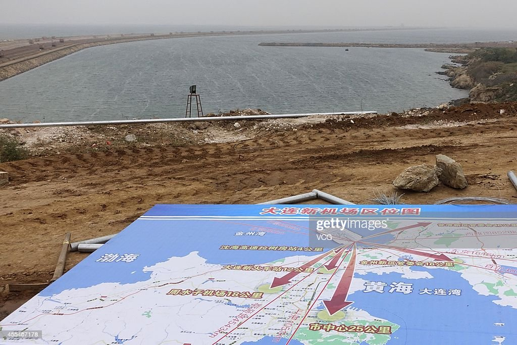 A general view of the construction site of Dalian's new airport on September 14 2014 in Dalian Liaoning province of China Dalian started to build the...