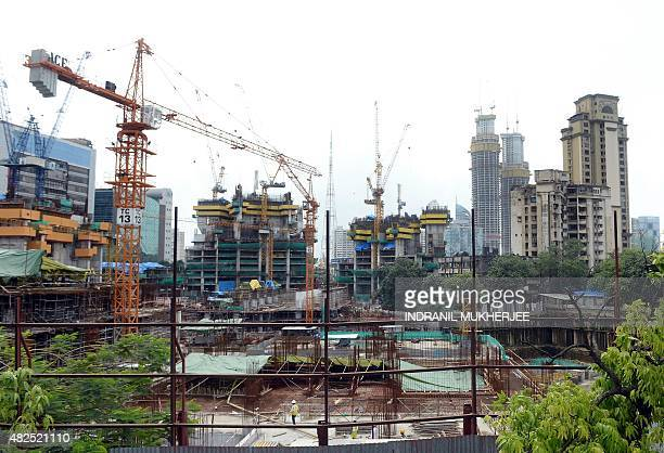 A general view of the construction site of the underconstruction luxury apartment block 'The Park' also dubbed as 'Trump Tower' is pictured in Mumbai...