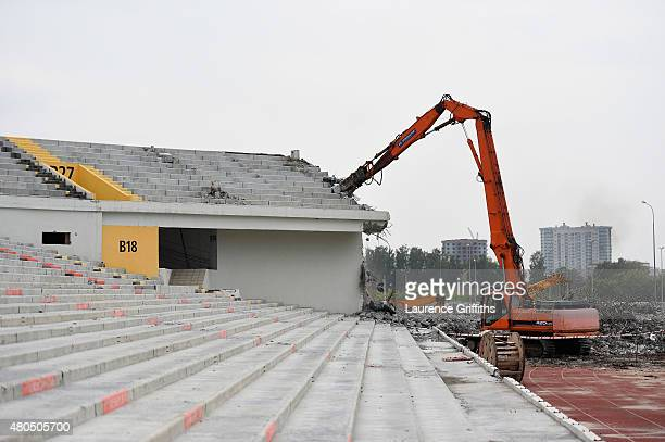 A general view of the construction work at the site of the Ekaterinburg Stadium during a media tour of Russia 2018 FIFA World Cup venues on July 12...