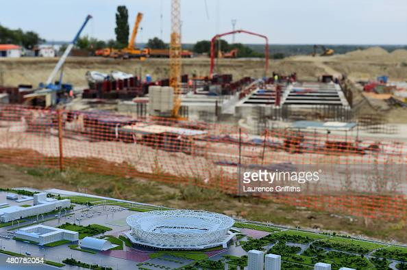 A general view of the construction work at the site of the new stadium during a media tour of Russia 2018 FIFA World Cup venues on July 15 2015 in...
