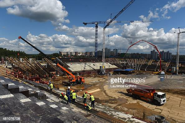 A general view of the construction work of the new stadium during a media tour of Russia 2018 FIFA World Cup venues on July 17 2015 in Saransk Russia