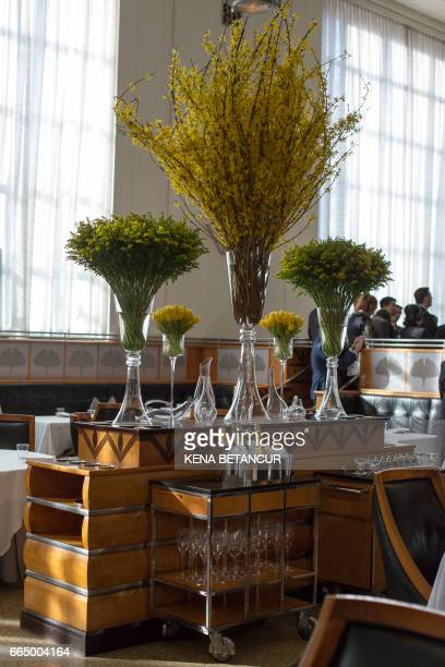 General view of the contemporary New York eatery Eleven Madison Park on April 05 2017 in New York The restaurant was crowned the world's best...