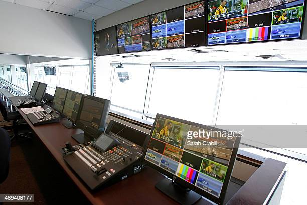 A general view of the control room during the 'Big Hoss TV' Contruction Tour at Texas Motor Speedway on February 14 2014 in Fort Worth Texas