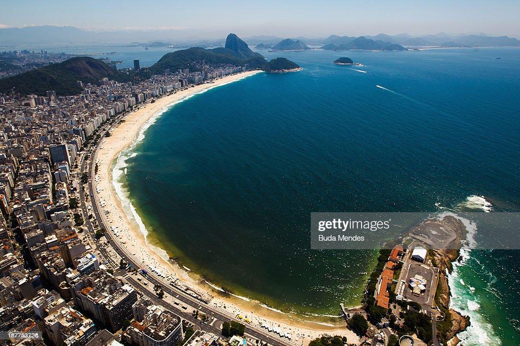 A general view of the Copacabana beach on November 12, 2013 in Rio de Janeiro, Brazil.