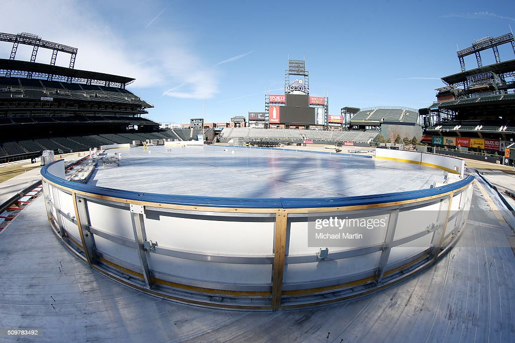 A general view of the corner boards waiting to be to be installed as part of the 2016 Coors Light Stadium Series at Coors Field on February 12, 2016 in Denver, Colorado. The game is scheduled to be played on Feb 27.