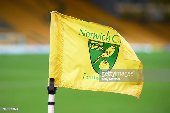 A general view of the corner flag and stadium prior to the Barclays Premier League match between Norwich City and Tottenham Hotspur at Carrow Road on...