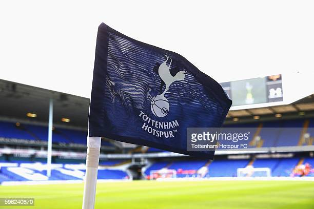 General view of the corner flag inside stadium prior to kick off during the Premier League match between Tottenham Hotspur and Liverpool at White...