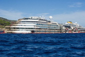 A general view of the Costa Concordia cruise ship in upright position on September 18 2013 in Isola del Giglio Italy The vessel which sank on January...
