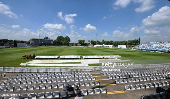 A general view of The County Gound during the LV County Championship Division One match between Derbyshire and Surrey at The County Ground on May 31...