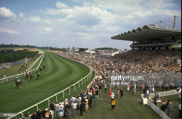 General view of the course and stands during Glorious Goodwood at Goodwood racecourse in West Sussex England Mandatory Credit Simon Bruty/Allsport