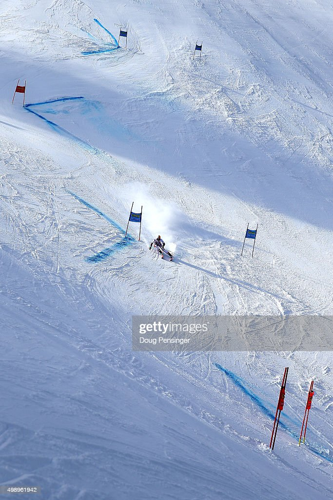 A general view of the course as Cornelia Huetter of Austria competes in the first run of the giant slalom during the Audi FIS Women's Alpine Ski World Cup at the Nature Valley Aspen Winternational on November 27, 2015 in Aspen, Colorado.