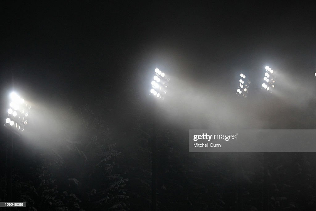 A general view of the course with foggy weather during the Audi FIS Alpine Ski World Cup Slalom race on January 15, 2013 in Flachau, Austria,