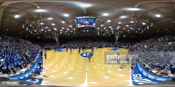 A general view of the court ahead of the Duke Blue Devils versus North Carolina Tar Heels game at Cameron Indoor Stadium on March 5 2016 in Durham...