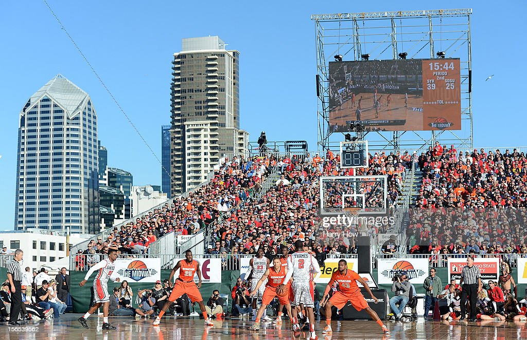 General view of the court and skyline during a 62-49 Syracuse win over the San Diego State Aztecs on the USS Midway on November 11, 2012 in San Diego, California.